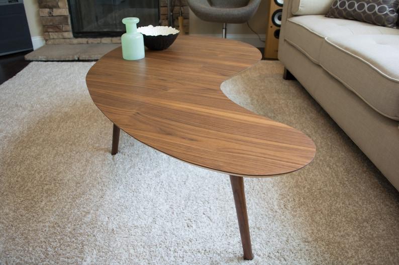 Mid-Century Modern Coffee Table  Walnut Kidney Bean  Extra image 0