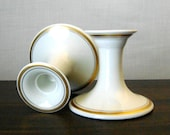 Pair of Fitz Floyd Cream White Porcelain Candle Sticks with Gilded Banding