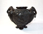 Chinese Cast Bronze Censer with Elephant Head Handles and Four Vignettes depicting Mythical Chinese Birds