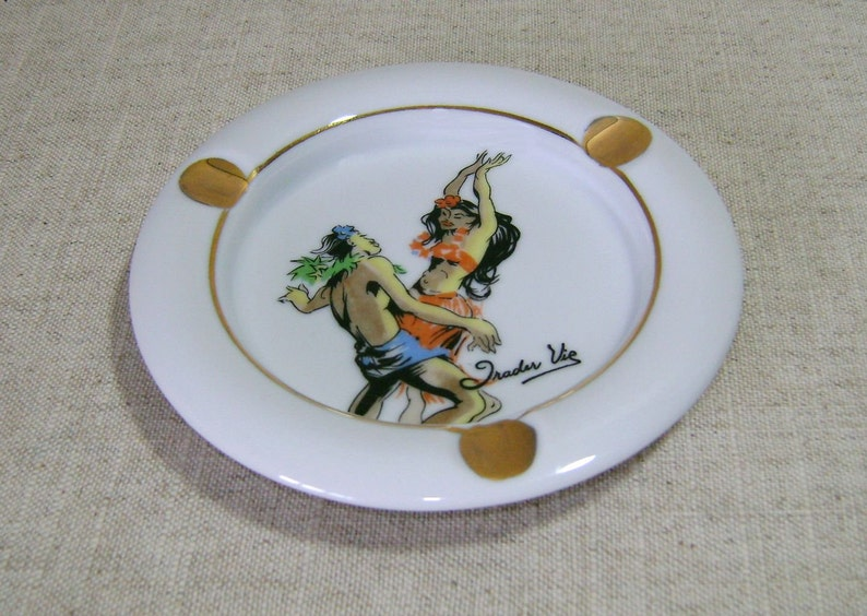 Vintage Trader Vic\u2019s Porcelain Ashtray Made in Japan circa 1960s with Polynesian Cartoon Rendering
