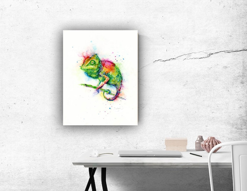 Colorful Chameleon Art Print by Patricia Lintner