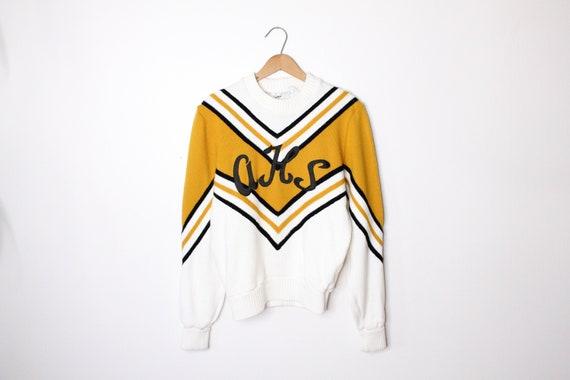 vintage striped varsity cheerleading sweater size