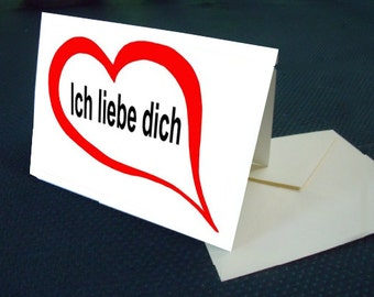 German  I LOVE YOU  note card with envelope