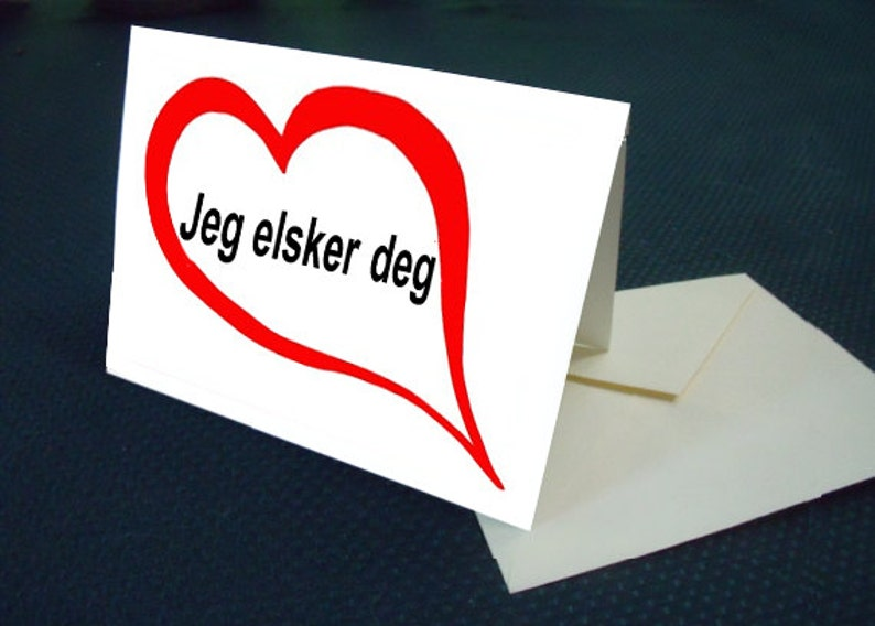 Norwegian I Love You Card With Envelope Etsy