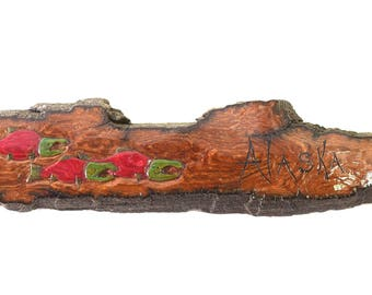 Alaskan Cottonwood Bark Salmon Carving