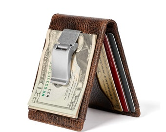 DEACON Bifold Front Pocket Wallet•Money Clip Wallet•Exterior ID Window•PERSONALIZED Wallet•Bifold Money Clip•Mens Gifts•Anniversary Gift