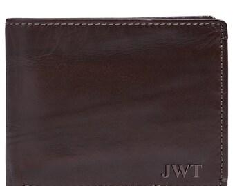 Jack DOUBLE ID Bifold Wallet•BROWN•Personalized•Men's Leather Bifold Wallet•Groomsmen Gift•Monogrammed Mens Wallet•Anniversary Gift•