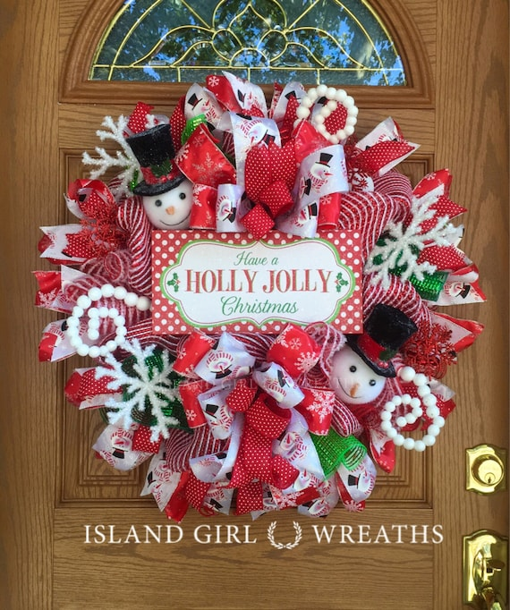 snowman wreath christmas wreath snowman christmas wreath etsy - Christmas Wreaths Etsy