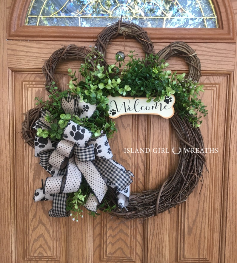 Dog Wreath Grapevine Dog Wreath Paw Wreath Dog Wreaths Paw image 0