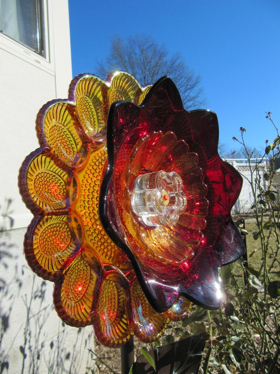 Glass Plate Flower Yard Art Outdoor Decor Upcycled Etsy