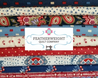 Lucy Boston Patchwork of the Crosses Red, White and Blue V - 3 block kit with Free 100 pc Honeycomb template pack