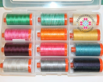 Spring Cleaning Sale ****Priory Square - Aurifil 50 wt 12 large spools collection - SALE PRICE!