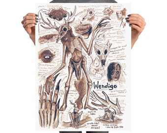 Wendigo| Monster Anatomy| Cryptozoology| Cryptid| Wendigo Art| Mythical Creature| Monster Art| Macabre Art| Dark Fantasy Art| Horror Art