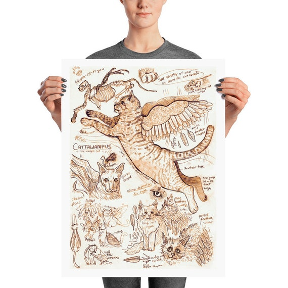 Cat Anatomy Print Mythical Creature Fantasy Cute Animal