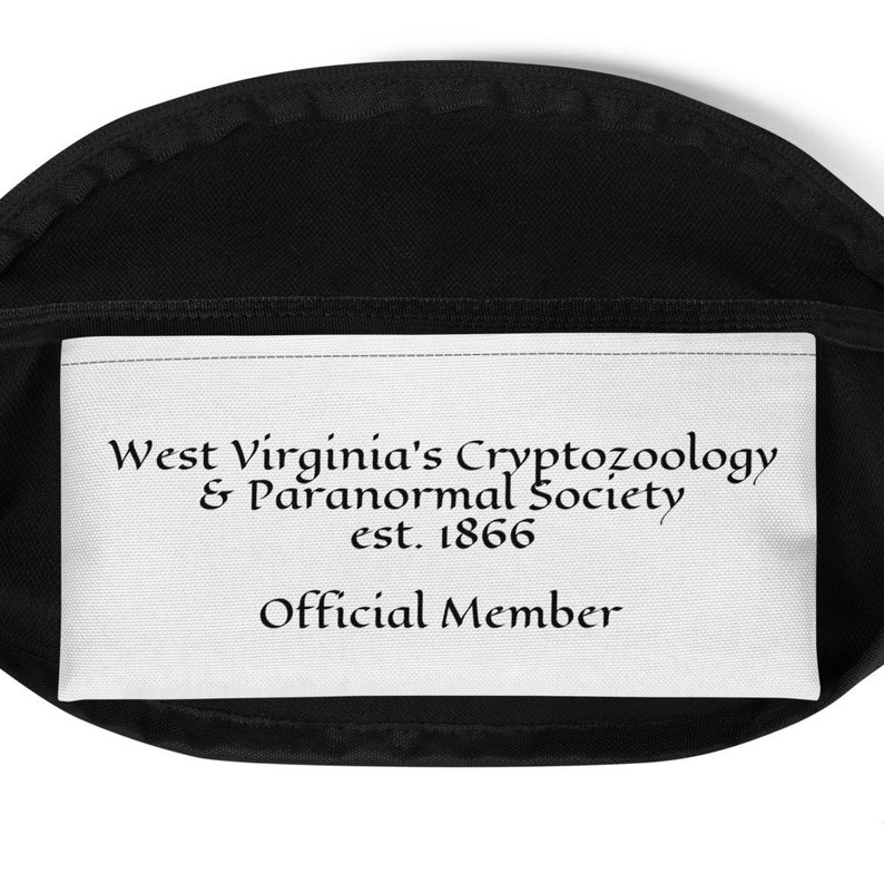 West Virginia Cryptid Themed Cryptozoology Map Waist Bag or Fanny Pack featuring Mothman