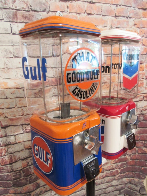 Chevron gas candy machine glass globe Gulf gas double Acorn gumball machine