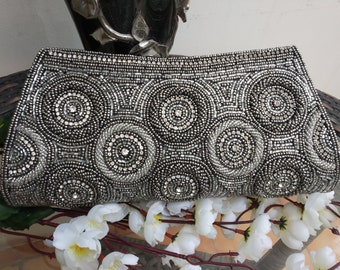 Silver Gray clutch bag India wedding hand bag bling glam Bridal clutch handmade zardosi embroidery work Purse made in India by Artcraving