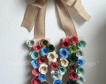 Wood Initial/ Rosettes Initial/ Rosettes Letter/ Wood Letter/ Vintage Rosette Initial/ Vintage Wood Initial