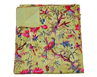 Floral Printed Queen Kantha Bedspread Bohemian Kantha Bedding Indian Kantha Quilt Baby Blanket