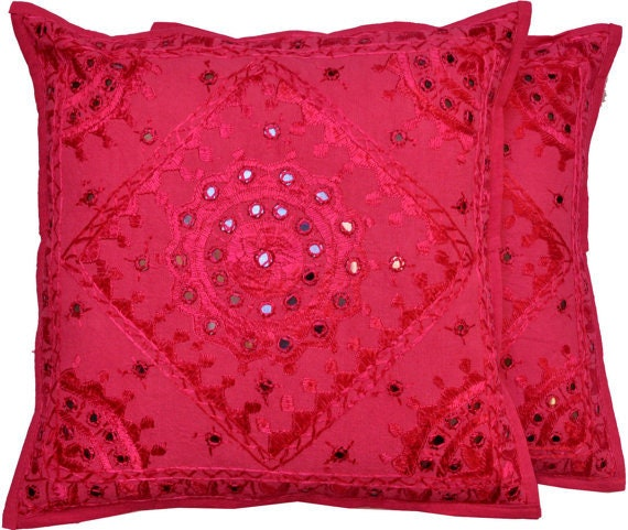 2 Pc Pink Embroidered Throw Pillows Boho Mirror Work Cushion Covers  Decorative Pillows For Couch Sofa Bedroom Cushions Indian Floor Cushion