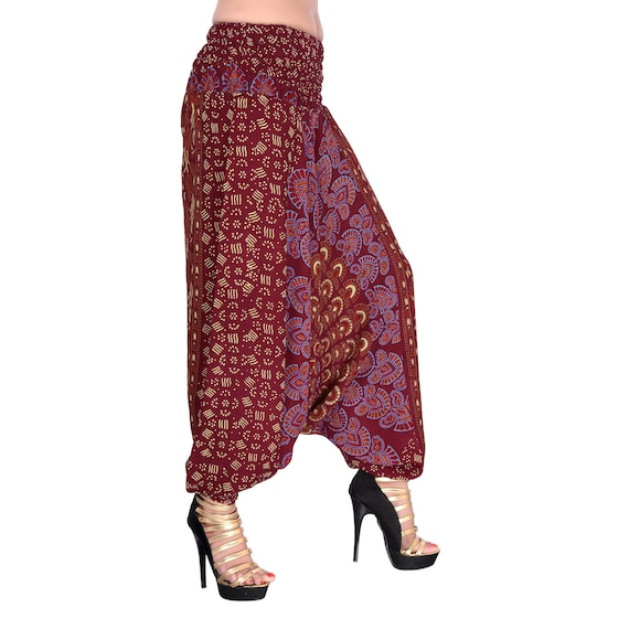 Assorted Design Women Printed Cotton Trousers Harem Pants Palazzo Wide Leg Printed Divider Palazzo