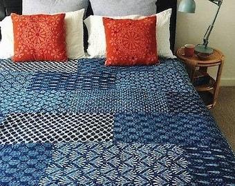 Handmade Indigo Kantha Quilt Queen Kantha Bedding Bohemian Patchwork Bedspread Quilt