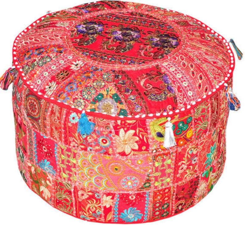 Ottomans, Footstools & Poufs Red Bohemian Pouf Ottoman Stool Floor Pillow Chair Pouffe Indian Handmade Pouf
