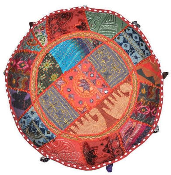 Multicolor Patchwork Pufy Ikea Krzesła Meble Ogrodowe Ottoman Etsy