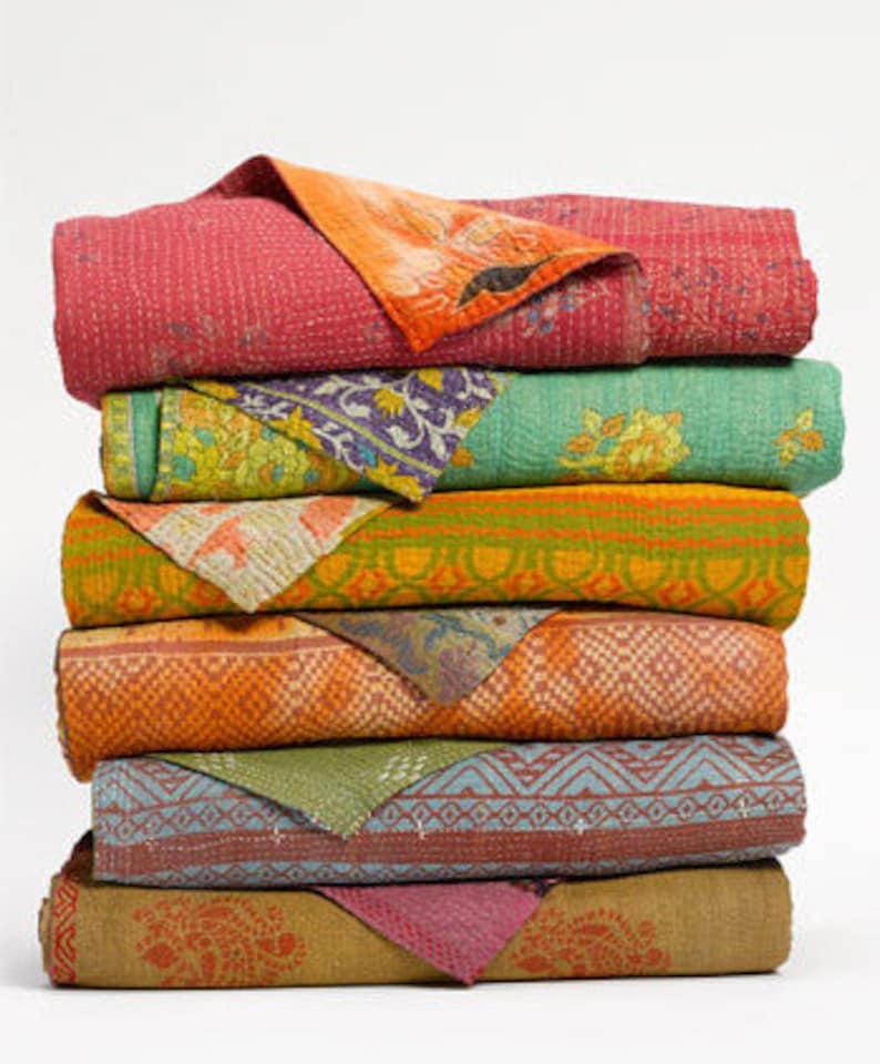 3 pc vintage kantha throw indian handmade kantha quilt hand quilted sari kantha gudri applique baby blanket