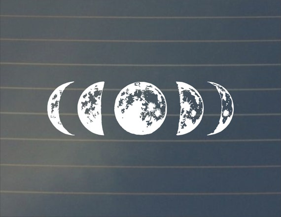Decal | Moon Phase Car Decal, Lunar Cycle, Moon Cycle, Moon Sticker, Crescent Moon Decal, Full Moon, Car Decal, New Moon, Laptop Decal by Etsy