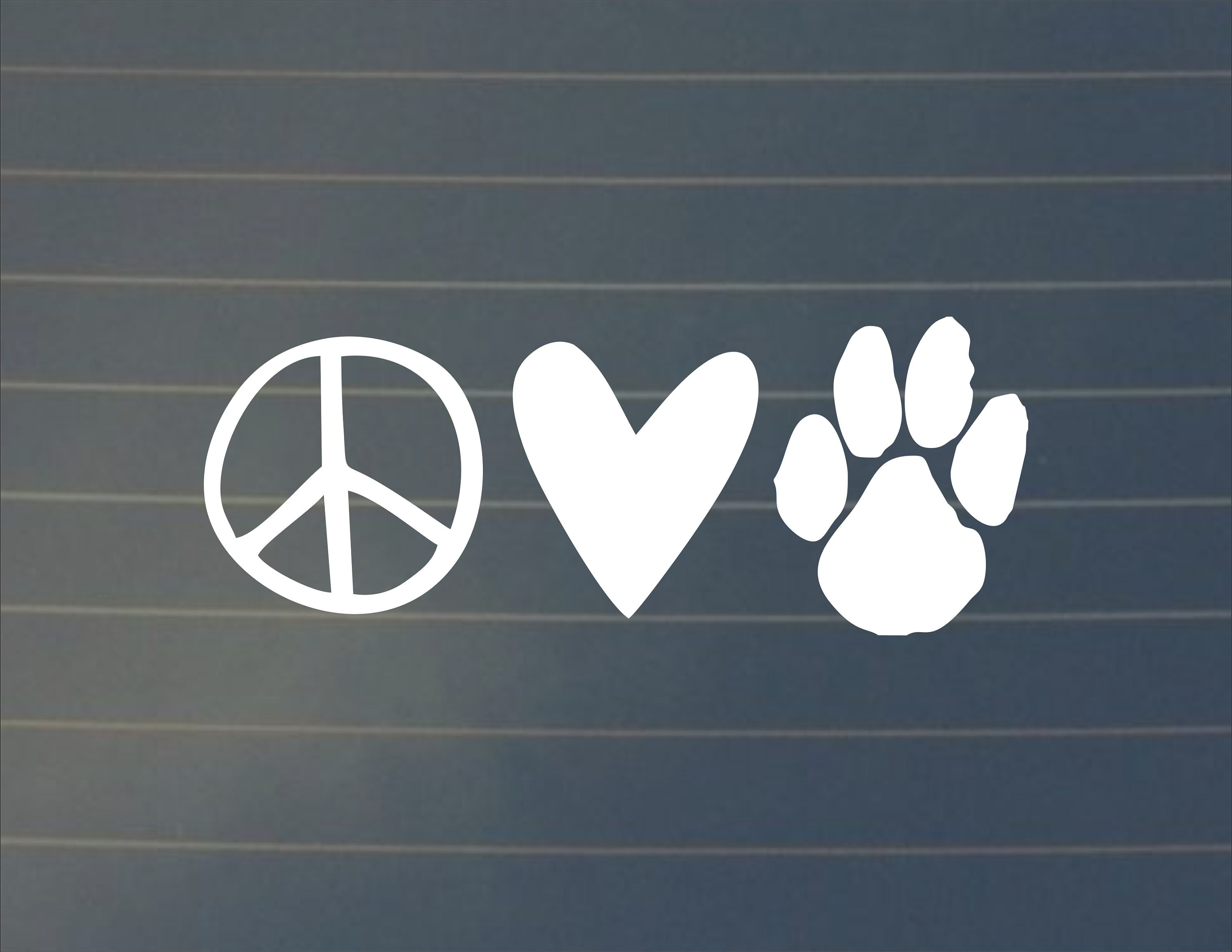 Decal peace love paws decal car decal paw print decal laptop stickers laptop decal dog owner decal dog car decals car decals decal