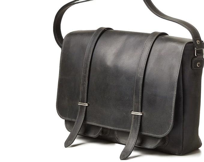 Dark grey leather messenger bag. Leather satchel for men.