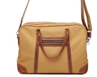 Mens briefcase. Waterproof canvas, leather handles, removable shoulder strap