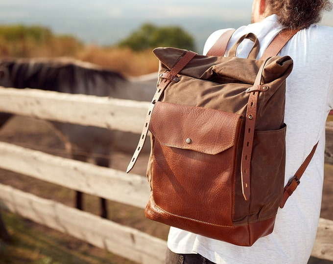 Tan-Brown Roll top canvas and leather backpack. Travel bag.