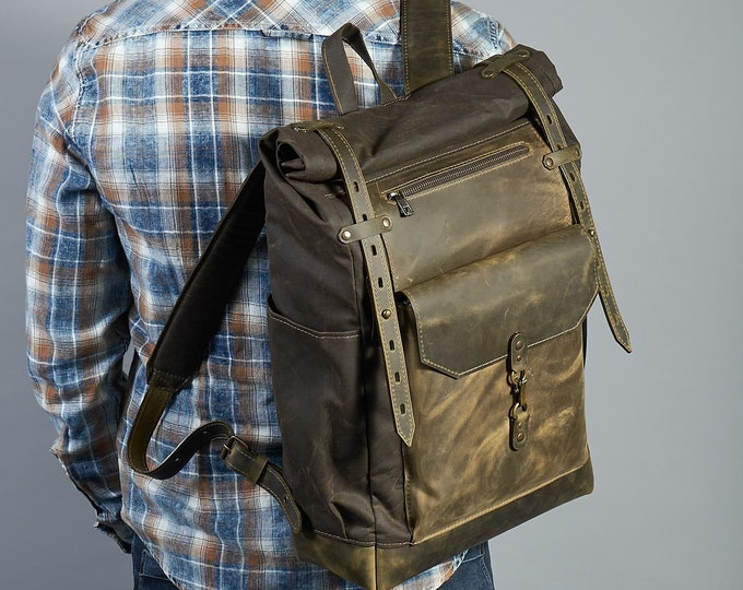 Olive green roll top backpack. Travel bag for men.