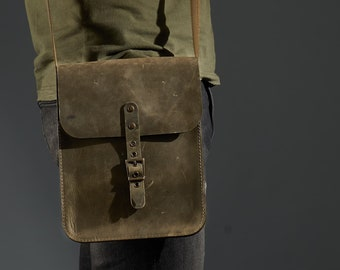 "Small leather crossbody bag for tablet / iPad. Dark olive ""crazy horse"" leather.  Personalized gift for him"