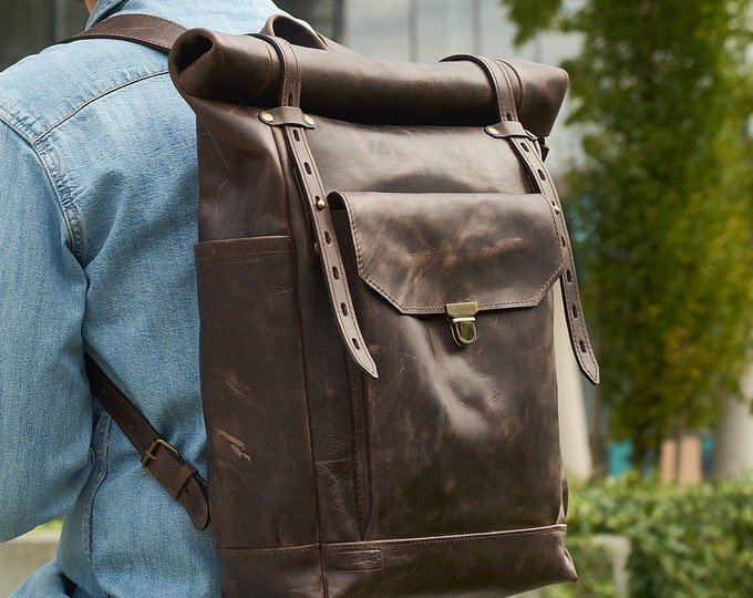 Mens leather roll top backpack in T.Moro dark brown.
