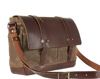 Fieldtan waxed canvas and leather messenger bag.
