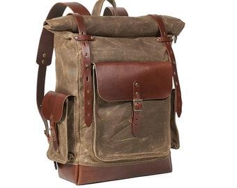 Hiking backpack men, Rolltop waterproof travel day pack, Waxed duck canvas rucksack
