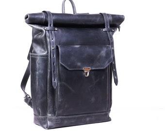 """Roll top leather backpack in grey colour.  Rucksack for 15"""" laptop."""