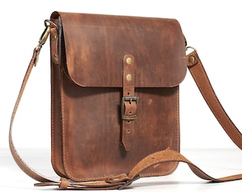 Small leather crossbody bag for men. Brown leather saddle bag.