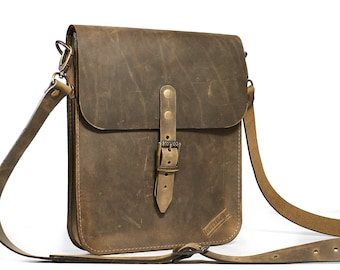 Mens Small leather crossbody bag. Olive leather saddle bag.