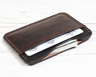 Dark Brown Leather card holder - Two slot slim wallet