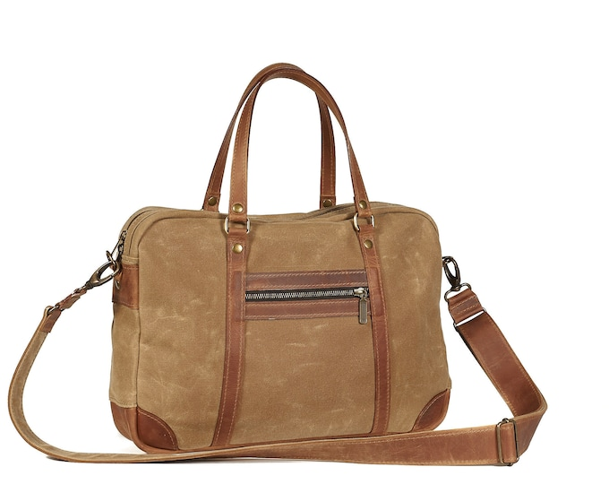 Waxed canvas briefcase with leather handles, removable shoulder strap