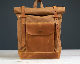 Small stylish backpack for women. Yellow waxed canvas.