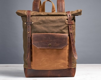 Small waxed canvas laptop backpack. Hipster rucksack.