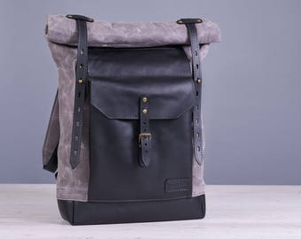 Laptop canvas backpack. Grey waxed canvas, black soft leather