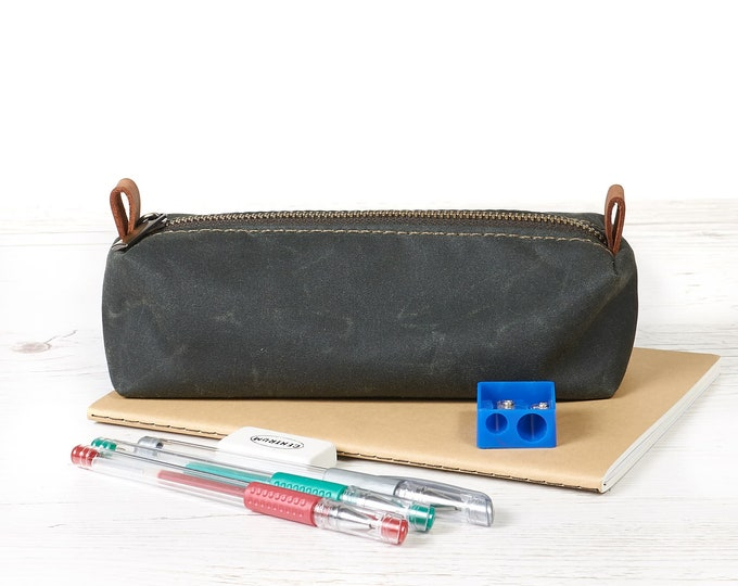 Waxed canvas zipper pouch, Hand made fabric pen and pencil case by InnesBags