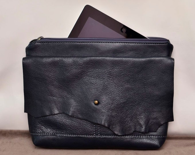 Navy blue leather clutch bag /  Raw Edge Leather Bag / Burgundy leather purse / Women purse
