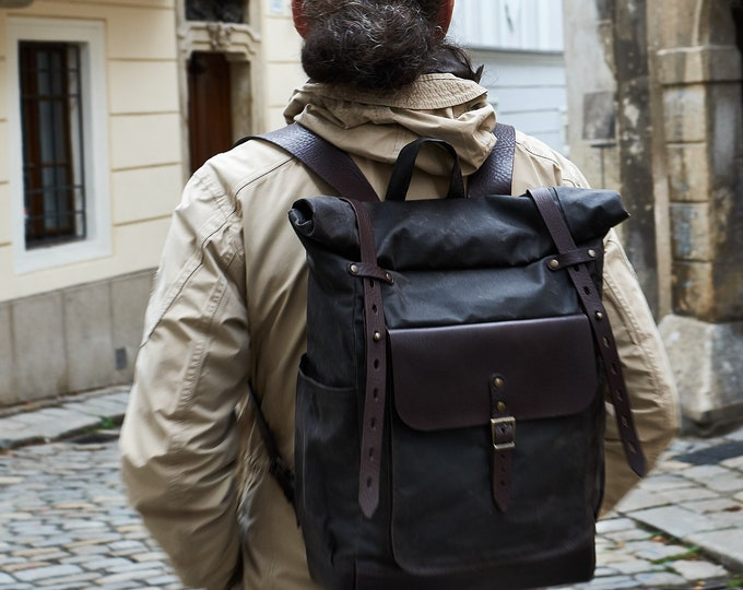 Chocolate Brown canvas roll top backpack